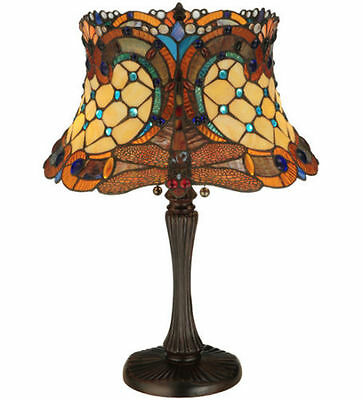 "Meyda Lighting 130762 Tiffany Style Stained Glass Dragonfly Table Lamp 16"" Shade"