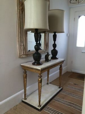 ANTIQUE pair of tall bronze Chinese lamp bases, 1920s - with vintage shades
