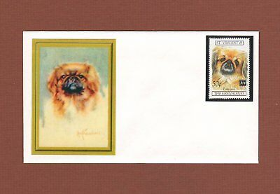 Pekingese dog handcrafted one-of-a-kind envelope with stamp & cachet
