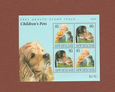 Stamp souvenir sheet children's pets dog cat New Zealand 1993 health MNH