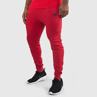 60d506a4 Nike Tech Fleece Red Black Cuffed Jogger Sweat Pants 805162 654 Mens XS-XXXL