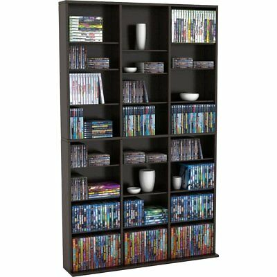 Multimedia Storage Cabinet Tower DVD CD Adjustable Shelves Rack Stand Large  Slim