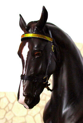 Model Horse Show Halter, ASB / Morgan Style, Traditional 1:9 Scale: Black & Gold