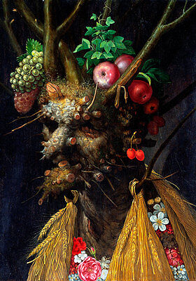 Four Seasons in One Head A1 by Giuseppe Arcimboldo High Quality Canvas Print