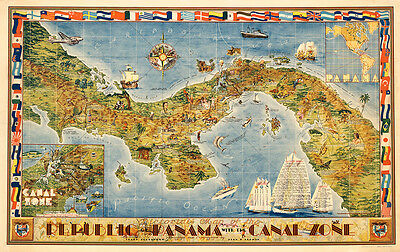 Pictorial Map of the Republic of Panama with the Canal 75cm x 47.4cm Art Print