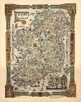 Story Map of Ireland 1936 75cm x 59.5cm High Quality Art Print
