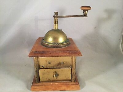 Antique Brass and Wood Coffee Grinder