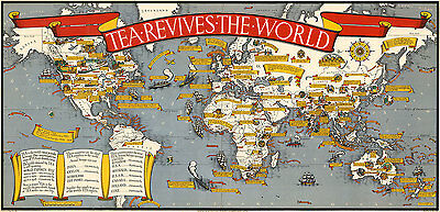 Tea Revives the World 1940 A1 Vintage High Quality Canvas Art Print