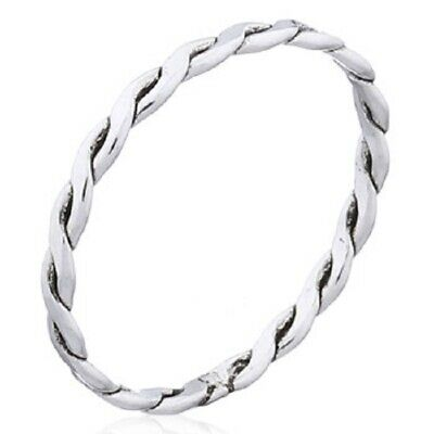 Midi ring knuckle stackable 925 silver Flat Braided 1mm wide 3us 3.5us 4us 5us