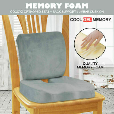 Memory Foam Seat Cushion Lumbar Back Support Orthoped Office Pain Relief Grey
