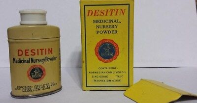 Vtg Desitin Nursery Powder Tin w/Powder & Box, Free Sample Desitin Chemical Co