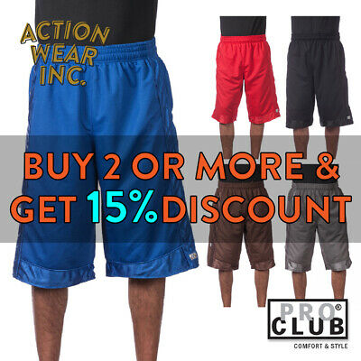 Proclub Pro Club Men's Heavyweight Basketball Shorts Active Mesh Shorts Hip Hop