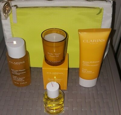 Clarins Tonic Treatment Oil, Body Balm, Candle, Bath & Shower Concentrate & Bag
