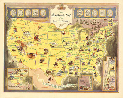 Booklover's Map of the United States 1949 75cm x 60cm High Quality Art Print