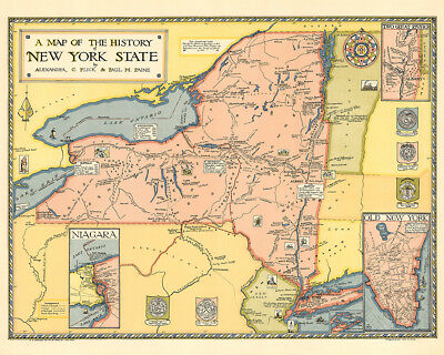A Map of the History of New York State 1929 75cm x 60cm High Quality Art Print