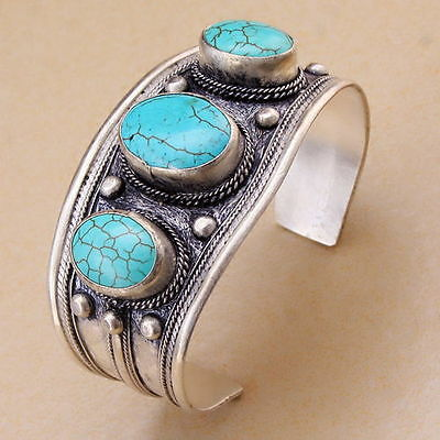 Old Tibet Silver Light blue 3 Beads Oval Turquoise Stone Cuff Bracelet Bangle
