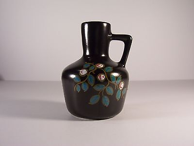 PZH Gouda Small Jug Vase black glaze hand painted Corsica decoration 4462