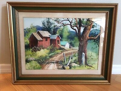 Vintage Water Color Barn House, Farm Painting By Well Known Margaret Ward