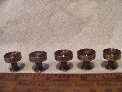 VTG. SMALL BRASS DRAWER KNOBS , PULLS , LOT OF 5 japan