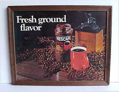 "NESCAFE COFFEE ""Fresh Gound Flavor"" ADVERTISING SIGN Coffee Mill Graphics"
