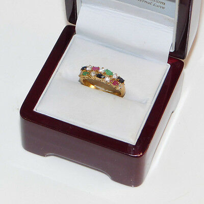 Vintage Yellow Gold Filled Band Emerald Sapphire Ruby CZ sz 7.5 Ring 12b 49