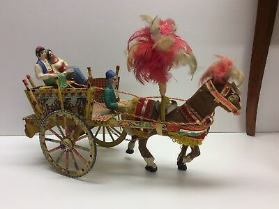 Vintage Donkey Cart Mexican Parade Wooden Hand Painted Litho Ornate N8