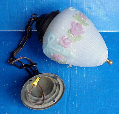 Antique Light SHADE Reverse Painted Puffy Frosted Glass w/Pink Flowers Blue Bows