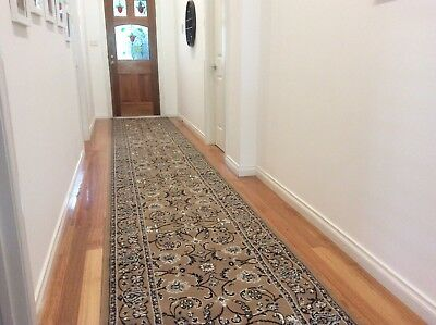 Hallway Runner Hall Runner Rug Traditional Beige 4 Metres Long x 1 Metre Wide 34