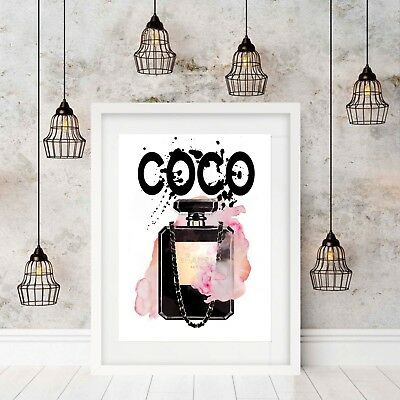 "Wall Art Print ""Coco Chanel"" Pink Watercolour A4/A3 Unframed"