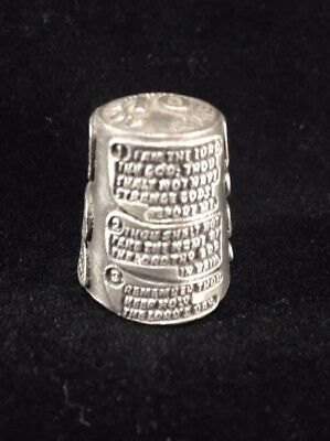Ten 10 Commandments Thimble Pewter Rare Sewing Memorabilia Collectible
