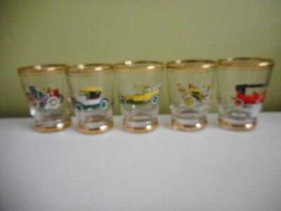 Sherry, Shot Glasses 5 Vintage Cars Gold Trim Height 7Cm