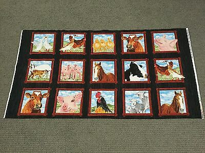 Farm Animal Fabric Panel Pig Cow Duck Horse Sheep Chicken Quilt Squares Blocks