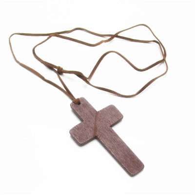 1pc Retro Ancient Cute Wooden Christian Religous Cross Necklace Pendant Gift