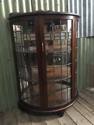 An Oak Art Deco Leadlight Demi Lune Crystal Display Cabinet with Mirror Back