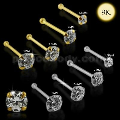 22G-6mm 9K Solid Gold Ball End Round Quality Machine Cut Jeweled Nose Pin Stud