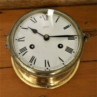 stunning BRASS SCHATZ ship porthole marine ship CLOCK bell chime mechanical key