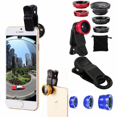 3in1 Fisheye Wide Angle Macro Lens Clip-On Camera Kit for iPhone 6S 6 Samsung RA