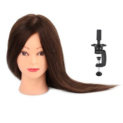 22'' 100% Real Human Hair Salon Hairdressing Training head Mannequin Doll &Clamp