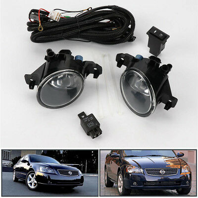 Clear Pair w/Switch Front Bumper Fog Lights Lamp for Nissan Altima JDM 2005-2006
