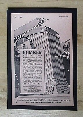 Humber Ltd Coventry  Snipe '80' Pullman Original Vintage Advert 1934