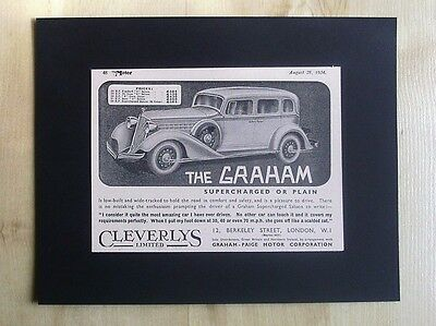 Graham Paige Motor Corporation Original Vintage Advert 1934 Motor Magazine