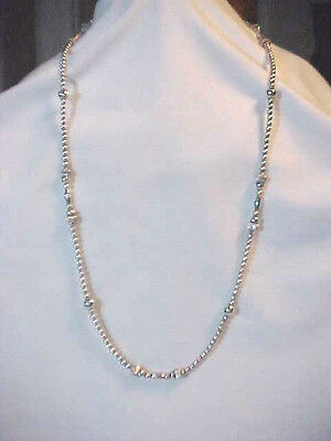 Sterling Silver Long Beaded Necklace Mixed Size & shape  of Beads 31 inches long