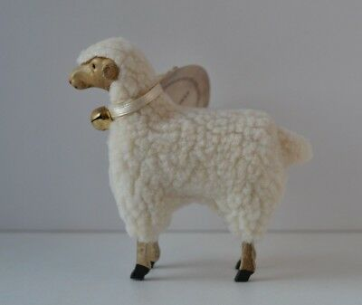 "VINTAGE STYLE GERMAN Wooly Wooden Legs PUTZ LAMB SHEEP LARGE 4"" Ragon House  NWT"