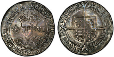 GR. BRITAIN England. Edward VI. 1551-1553 (ND)-Y AR Sixpence. PCGS XF Genuine