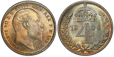 GR. BRITAIN Edward VII. (King, 1901-1910). 1904 AR Maundy Set. PCGS PL67-PL67+
