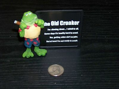 Russ Old Croaker frog with sign figurine - brand new, no box