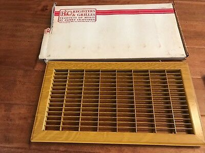 "Vintage Hart Cooley Register Return Vent Metal Oak Pattern 8""x16"""