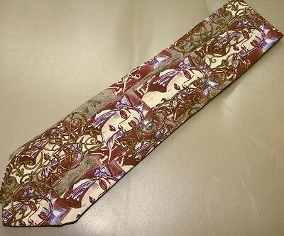 Picasso Pattern New 100% Silk Museum Taupe Burgundy Abstract Woman Fine Art Tie