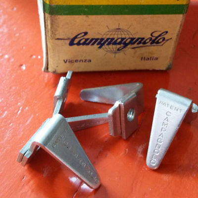 2 x Vintage NOS 70's CAMPAGNOLO PEDALE Invito Toe clips Kick Plate Pedal tabs