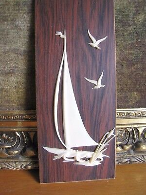 Mid Cent Modernist Retro Wall Art - Sail Boat with Seagulls - Great Condition